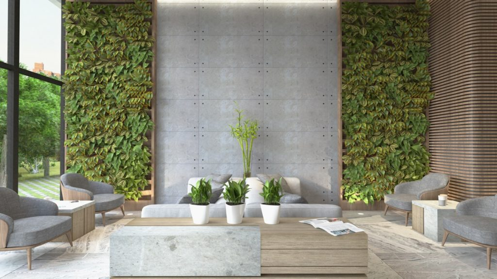 modern living room wall art paint ideas for with gray carpet 40 stylish rooms that use concrete to stand out
