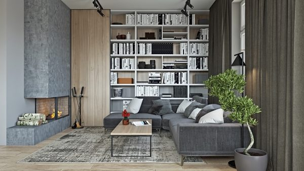 40 Stylish Living Rooms That Use Concrete To Stand Out Free Cad Blocks Drawings Download Center