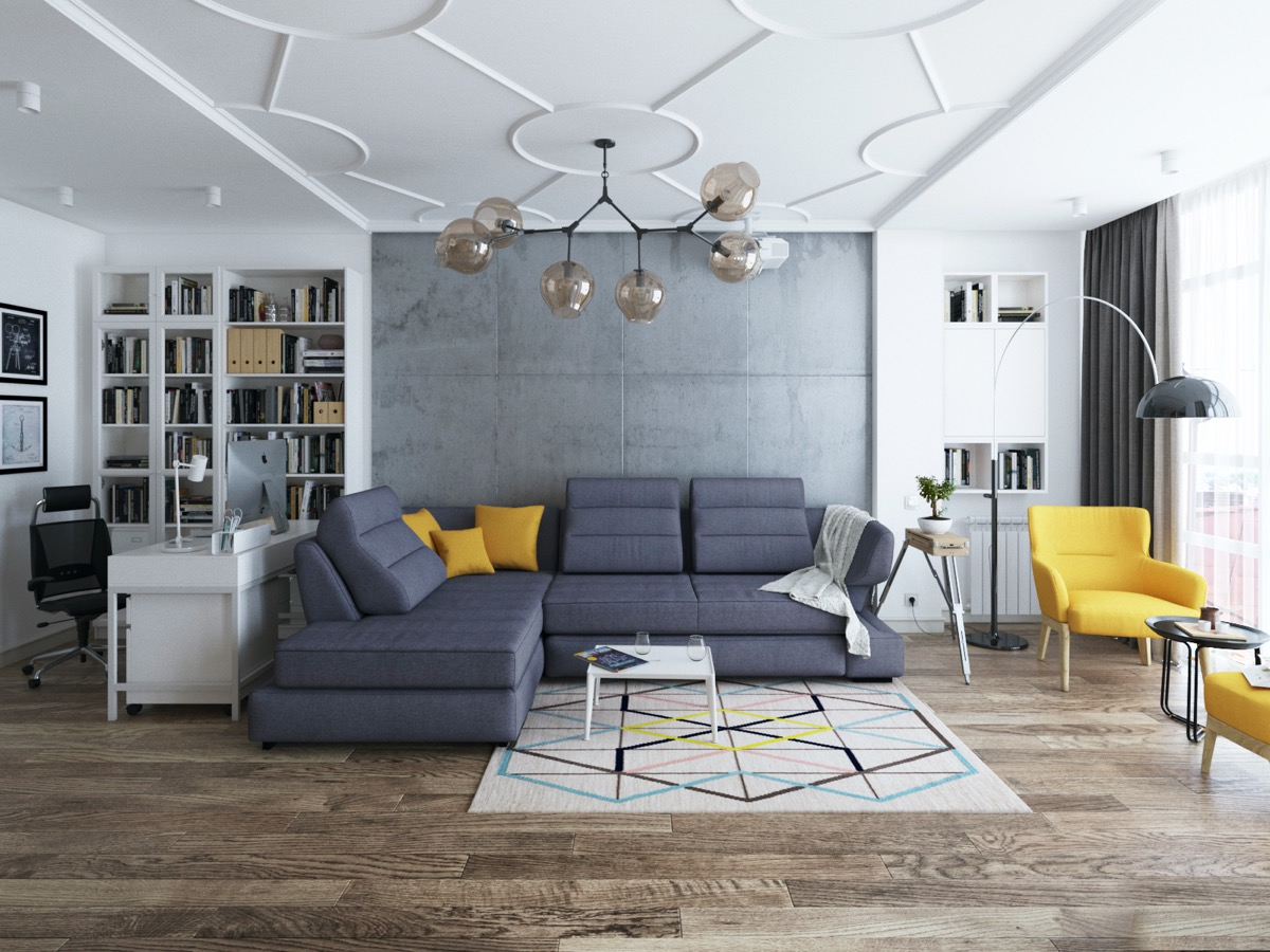 40 Stylish Living Rooms That Use Concrete To Stand Out