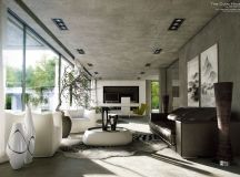 40 Stylish Living Rooms That Use Concrete To Stand Out images 21
