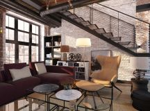 Rich Industrial Style Unites Jewel Colours with Exposed Brick Walls images 20