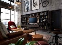 Rich Industrial Style Unites Jewel Colours with Exposed Brick Walls images 1