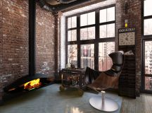 Rich Industrial Style Unites Jewel Colours with Exposed Brick Walls images 23
