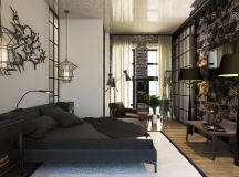 Rich Industrial Style Unites Jewel Colours with Exposed Brick Walls images 26