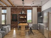 Rich Industrial Style Unites Jewel Colours with Exposed Brick Walls images 37