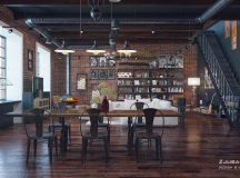 Rich Industrial Style Unites Jewel Colours with Exposed Brick Walls images 17