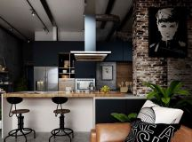 Rich Industrial Style Unites Jewel Colours with Exposed Brick Walls images 6