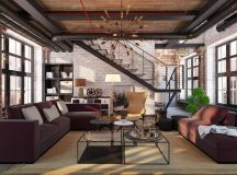 Rich Industrial Style Unites Jewel Colours with Exposed Brick Walls images 19