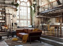 Rich Industrial Style Unites Jewel Colours with Exposed Brick Walls images 10