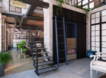 Rich Industrial Style Unites Jewel Colours with Exposed Brick Walls images 24