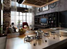Rich Industrial Style Unites Jewel Colours with Exposed Brick Walls images 5