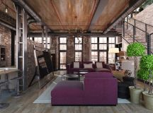 Rich Industrial Style Unites Jewel Colours with Exposed Brick Walls images 21