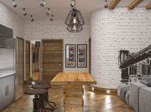 Rich Industrial Style Unites Jewel Colours with Exposed Brick Walls images 36