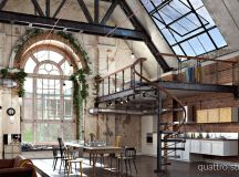 Rich Industrial Style Unites Jewel Colours with Exposed Brick Walls images 9