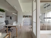 Completely White Apartment With Dominant Central Home Office images 7