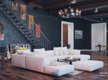 Rich Industrial Style Unites Jewel Colours with Exposed Brick Walls images 14