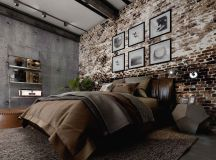 Rich Industrial Style Unites Jewel Colours with Exposed Brick Walls images 7