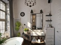 Rich Industrial Style Unites Jewel Colours with Exposed Brick Walls images 28