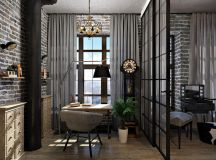 Rich Industrial Style Unites Jewel Colours with Exposed Brick Walls images 27
