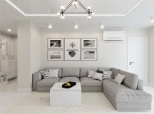 White & Grey Interior Design In The Modern Minimalist Style images 17