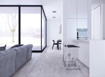 White & Grey Interior Design In The Modern Minimalist Style images 8