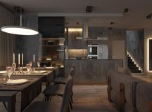 Dark Grey Home Decor With Warm LED Lighting images 23