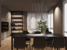 Dark Grey Home Decor With Warm LED Lighting images 4