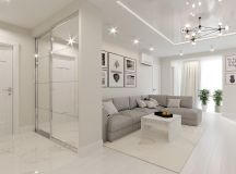 White & Grey Interior Design In The Modern Minimalist Style images 21