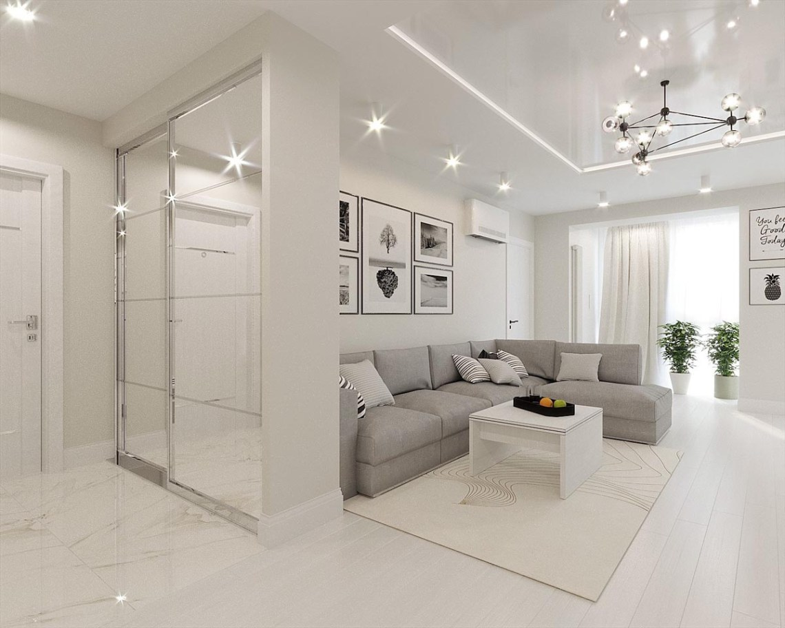 White & Grey Interior Design In The Modern Minimalist Style
