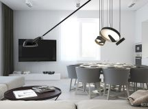 White & Grey Interior Design In The Modern Minimalist Style images 26