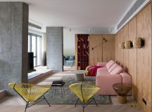Wood Covered Industrial Interior Accented With 1940's Inspired Palette images 0