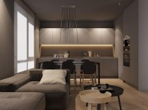 Dark Grey Home Decor With Warm LED Lighting images 0