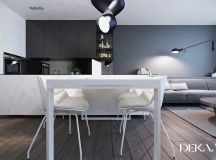 White & Grey Interior Design In The Modern Minimalist Style images 2
