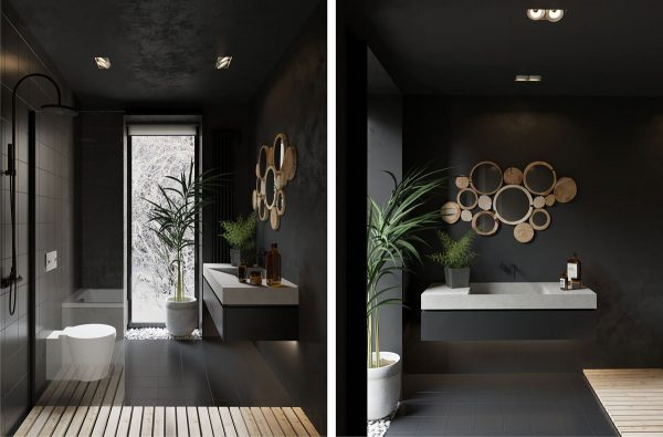 A Delightful Surprise In This House Full Of White, The Grey Bathroom Leads  Us In With A Not Entirely Different Décor. Headlined By A Burst Of Bubble  Mirrors ...