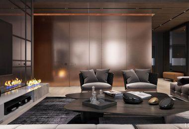 Luxury Apartment Interior Design Using Copper: 2 Gorgeous Examples