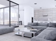 White & Grey Interior Design In The Modern Minimalist Style images 7