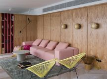 Wood Covered Industrial Interior Accented With 1940's Inspired Palette images 1