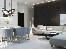 White & Grey Interior Design In The Modern Minimalist Style images 27