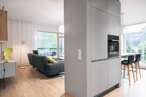 A Partially Dividing Wall Between The Lounge And The Kitchen Has A  Selection Of Kitchen Cabinets Built Into It.