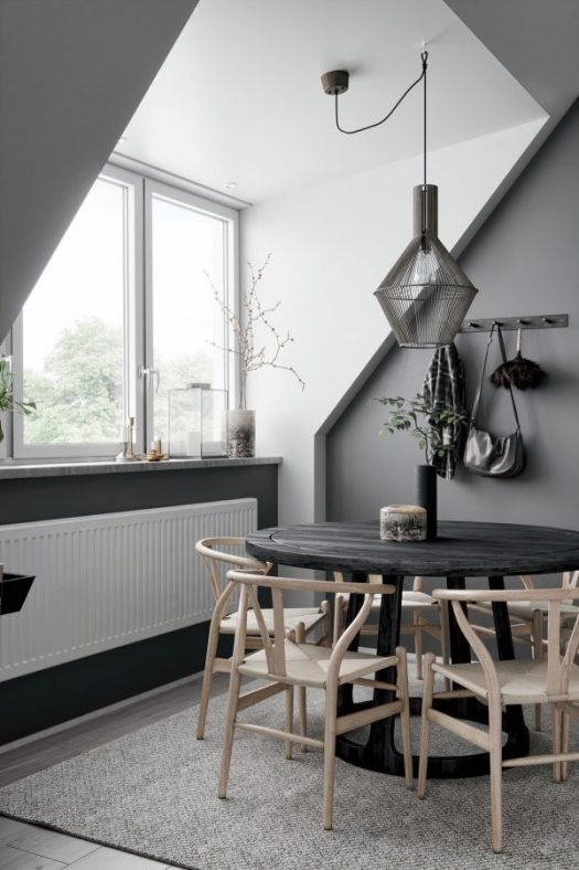 2 gorgeous attic apartments that use grey as base