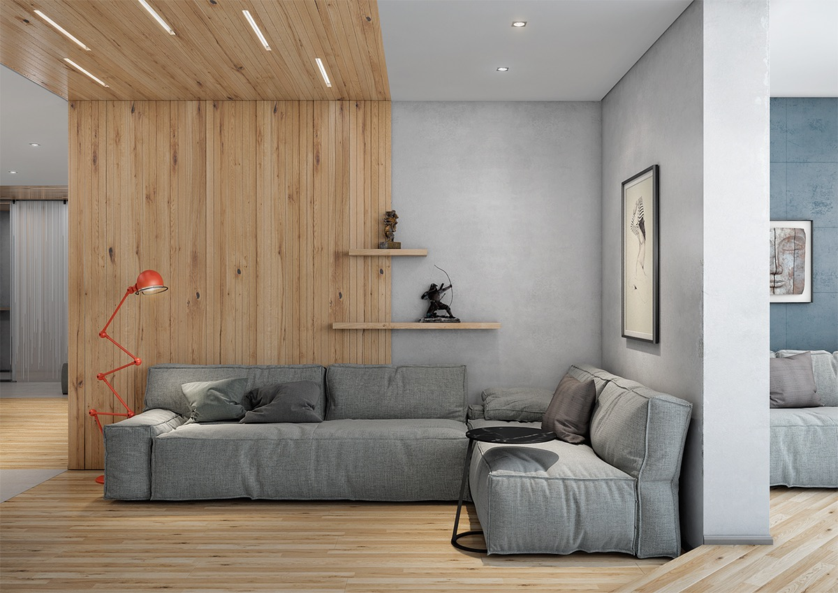 living room colour schemes with grey sofa wall lamps 40 rooms that help your lounge look effortlessly stylish 17 visualizer andrew skliarov accent furniture wooden features this structured