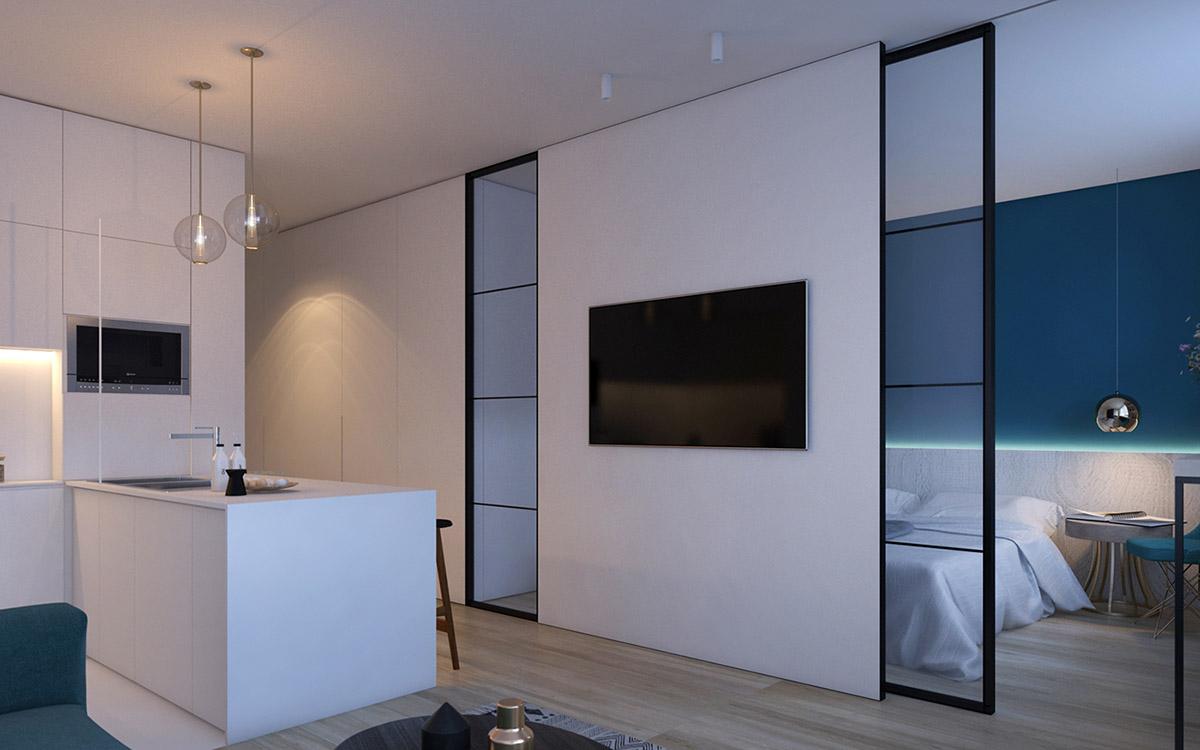 2 Modern Interiors With Rich Blue Decor Ideas