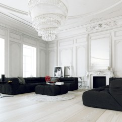 All White Living Room Ideas Hollywood Regency Design 30 Rooms That Exude Purity And Peace 14 Visualizer Juraj Talcik This Black Decor Keeps
