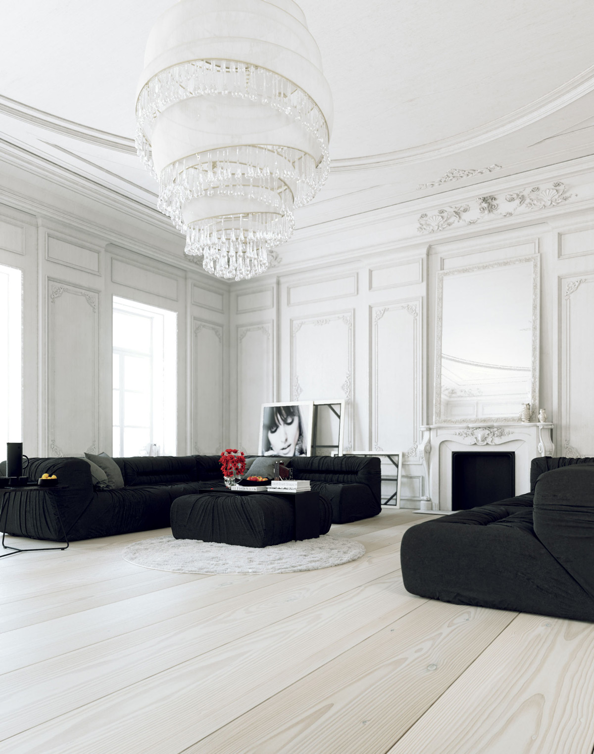 all white living room decor kitchen paint ideas 30 rooms that exude purity and peace 14 visualizer juraj talcik this black keeps