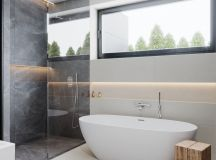 36 Modern Grey & White Bathrooms That Relax Mind Body & Soul images 25