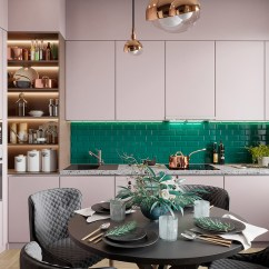 Green Kitchen Backsplash Beachy Table Scandinavian Style Interior Infused With Garden Greenery