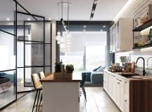 Two Small Apartments: A Blue Oasis of Minimalist Living images 6