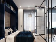 Two Small Apartments: A Blue Oasis of Minimalist Living images 3