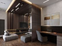 Luxurious Interior With Wood Slat Walls images 3