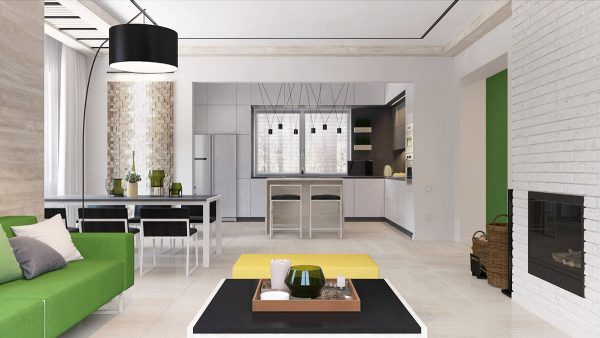 green and yellow accent interior in moscow free autocad blocks